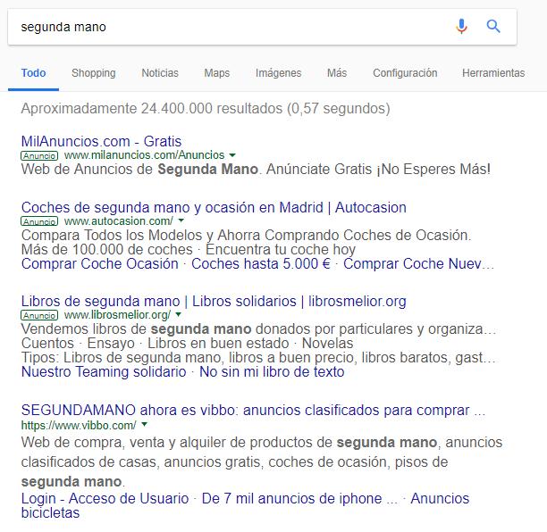 Ejemplo búsqueda anuncio